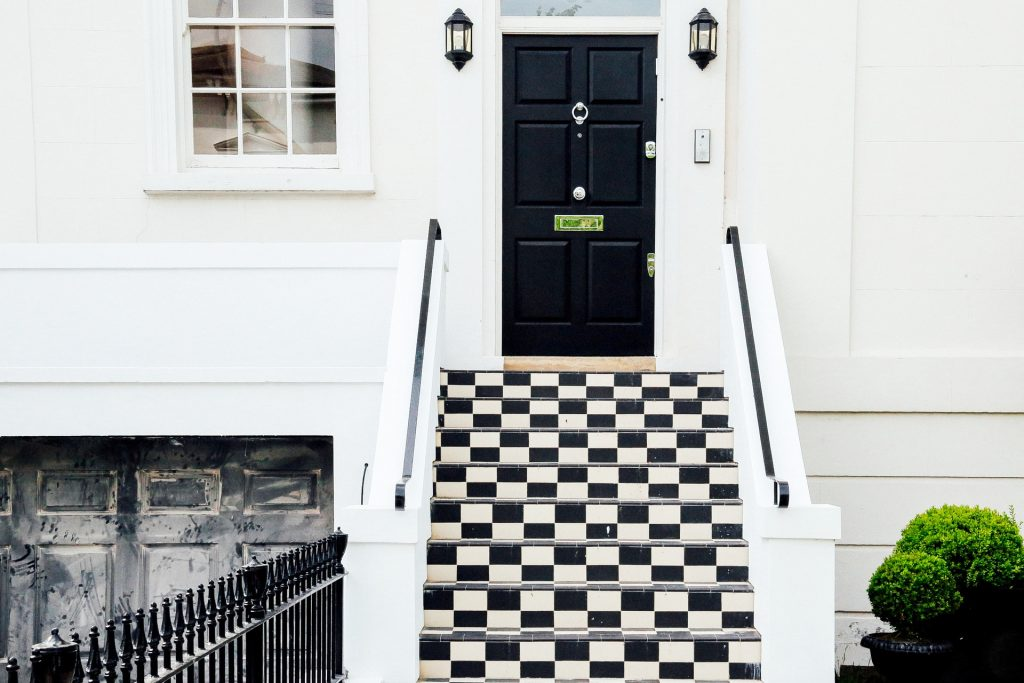 black and white door step tiles
